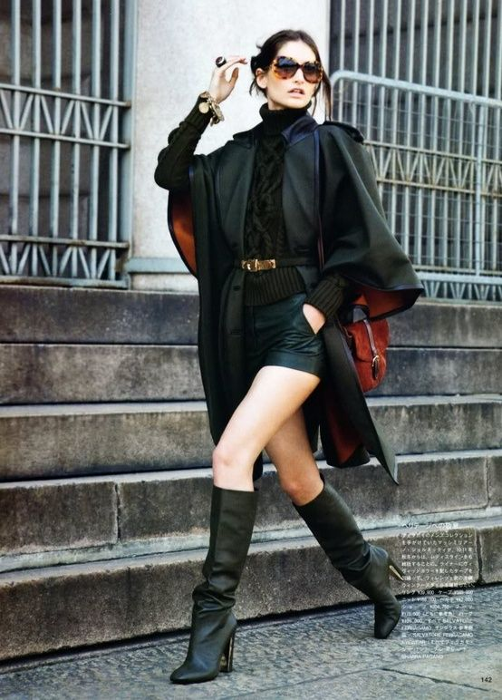 ♥ how to wear boots #shoes street styleRenaissance, Leather Shorts, Black Style, Summer Fashion, Fashion Clothing, Knee High Boots, Street Style, Fashion Editorial, Coats
