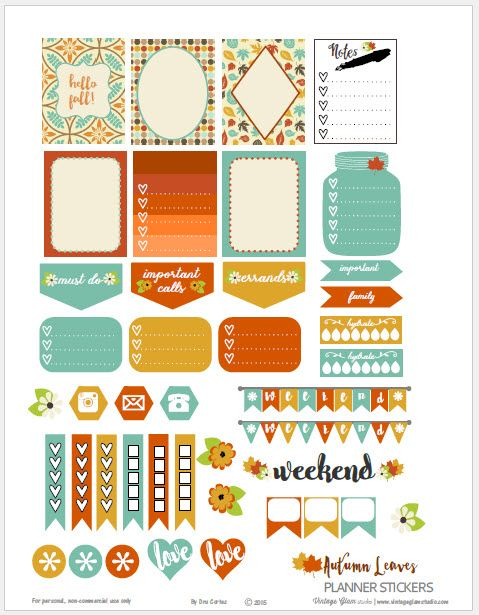 Free Printable Autumn Planner Stickers from Vintage Glam Studio