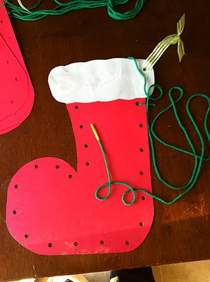 Sewing and decorating a Stocking--remember making these in grade school