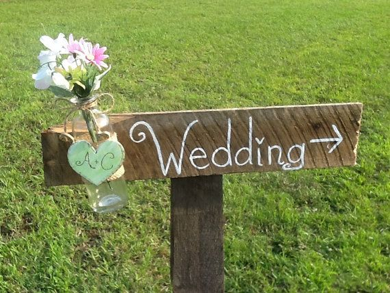Mint green Rustic wedding directional sign country by PineNsign, $30.00