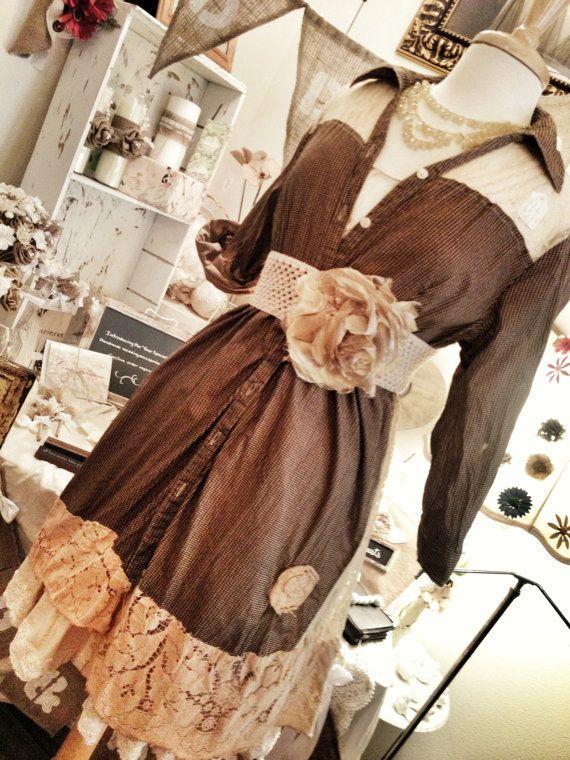 GYPSY PLANTATION:Womens Lagenlook Gypsy prairie country western mori girl tunic dress/shirt size small up to medium 8/10 via Etsy