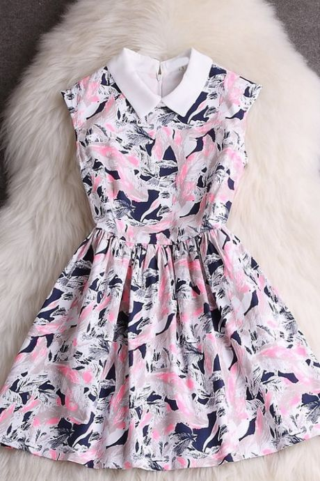 Sweet Printed Sleeveless Dress VC33009MN