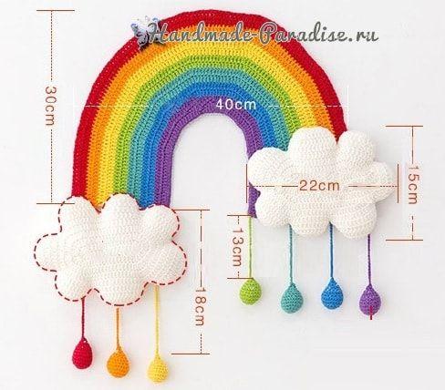 Радуга с облаками. Панно для детской комнаты (7) | Вязаный ...