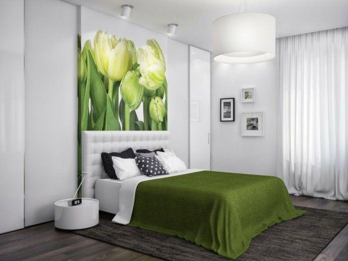 cooles design schlafzimmer in der wandfarbe grün und weiß ...