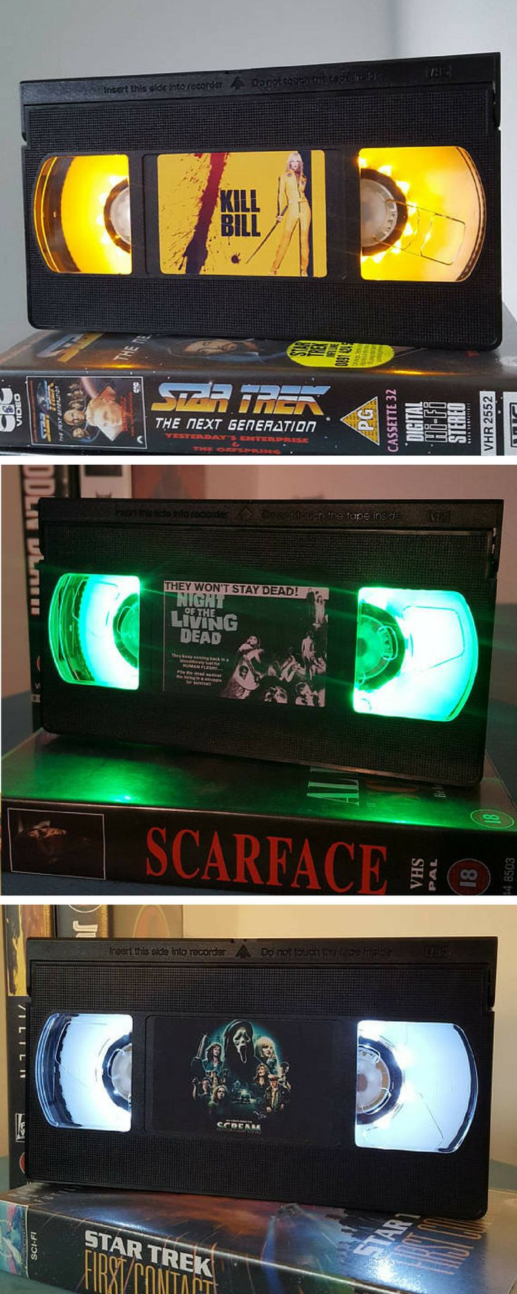 Retro VHS night light table lamp. So many colors, and movie, actor or band covers you can choose. #vhs #retro #led #lamp #roomdecor #commissionlink