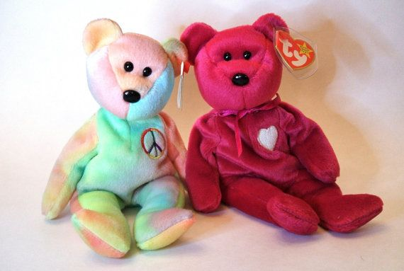 Ty Beanie Babies Valentina and Peace Ty Bears by ParadeOfMemories