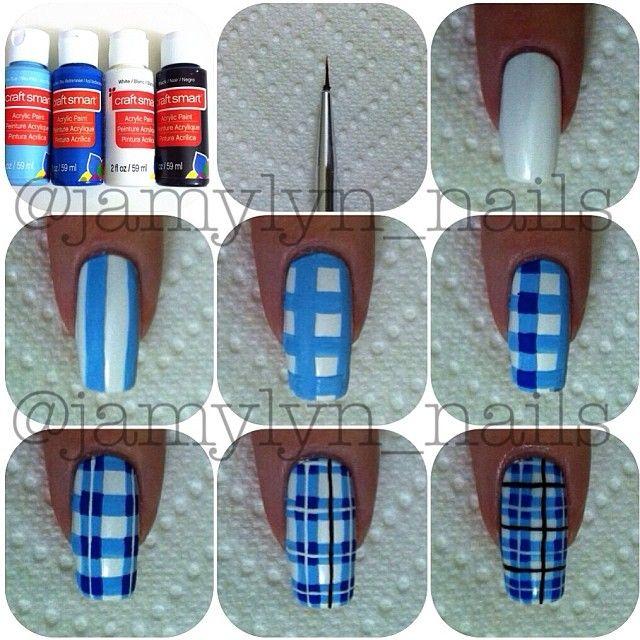 Plaid nail tutorial: Plaid nail tutorial