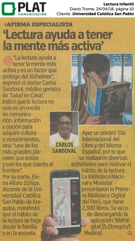 Universidad Católica San Pablo Lectura Infantil En El Diario Trome