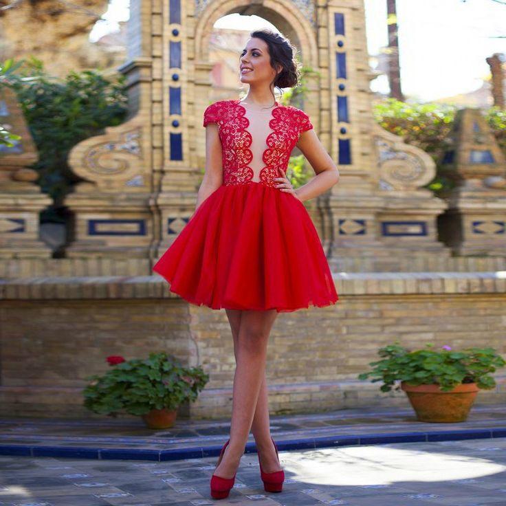 Элегантные платья для выпускного вечера Cap рукавом кружева коктейльные платья тюль выпускные платья сексуальные красные платья возвращения на родину 2016