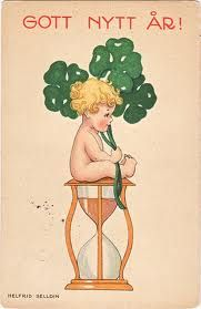 Little boy sitting on hour glass with clovers by Helfrid Selldin