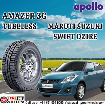 Buy Maruti Swift Dzire Car Tyres Online of Apollo Amazer 3G Tubeless Tyres and get fitted with Mobile Tyre fitting Vans at your doorstep at Guaranteed Low Prices as their official all India online partner buy now at http://www.tyreonwheels.com/tyres/Apollo/AMAZER-3G/766