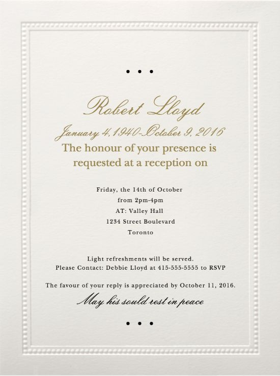 sample of funeral invitation - Kordurmoorddiner