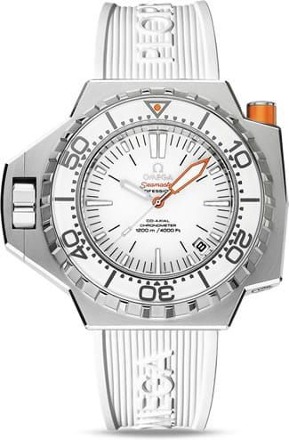 Ploprof 1200M Omega Co-Axial 55 X 48mm 224.32.55.21.04.001.The OMEGA Seamaster Ploprof 1200M is water resistant to 1200 metres / 4000 feet / 120 bar, and boasts a screw-in crown, automatic helium escape valve and bezel security pusher. Powering this professional divers' watch is the OMEGA Co-Axial calibre 8500.