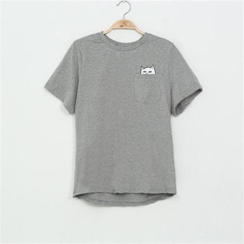 Sexemara 2016新しい夏ポケット原宿猫愛好家の女性トップ半袖tシャツ甘いスタイルブラック/ホワイト/グレープラスサイズ