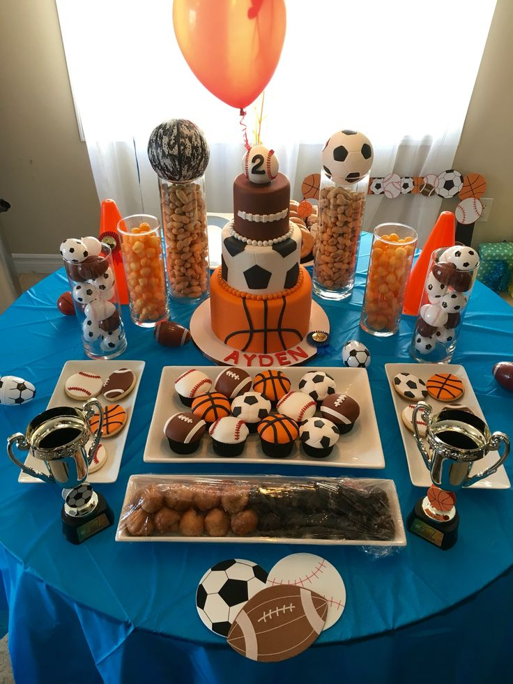 Sports Birthday Theme - Dessert Table for Ayden's 2nd Birthday - basketball baseball soccer football - sports cupcake - sports cookies - champion - balls - sweet table