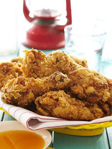Bobby Flay Party Recipes - 16-Spice Fried  Chicken with Mango-Red Chile Honey...must try the honey!