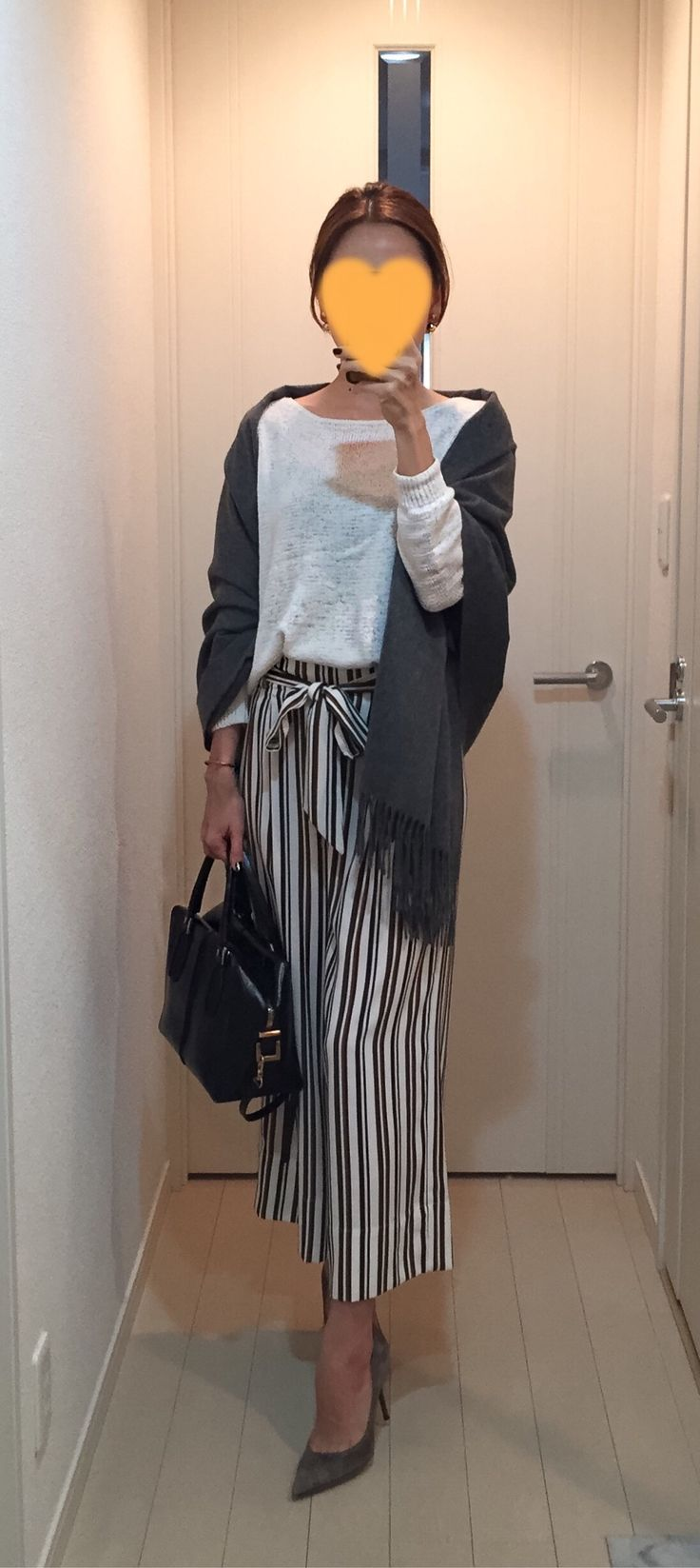 White sweater: Nolley's, Striped pants: ZARA, Grey cashmere scarf: Johnstons, Bag: Tod's, Beige pumps: Jimmy Choo