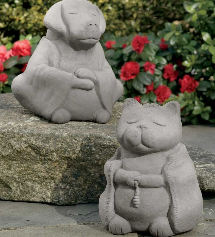 Solid Cast Stone Buddha Animals With Etched Chinese Characters By Michael  Gentilucci   Plow Hearth