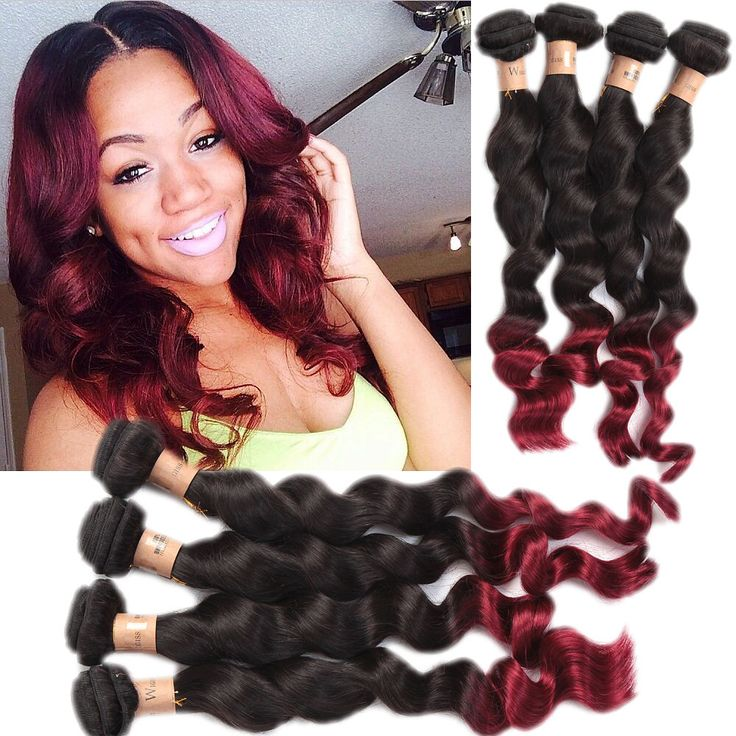 The 25 best real human hair extensions ideas on pinterest ombre burgundy ombre 100gbundle loose wave real human hair extensions remy weft weave pmusecretfo Gallery
