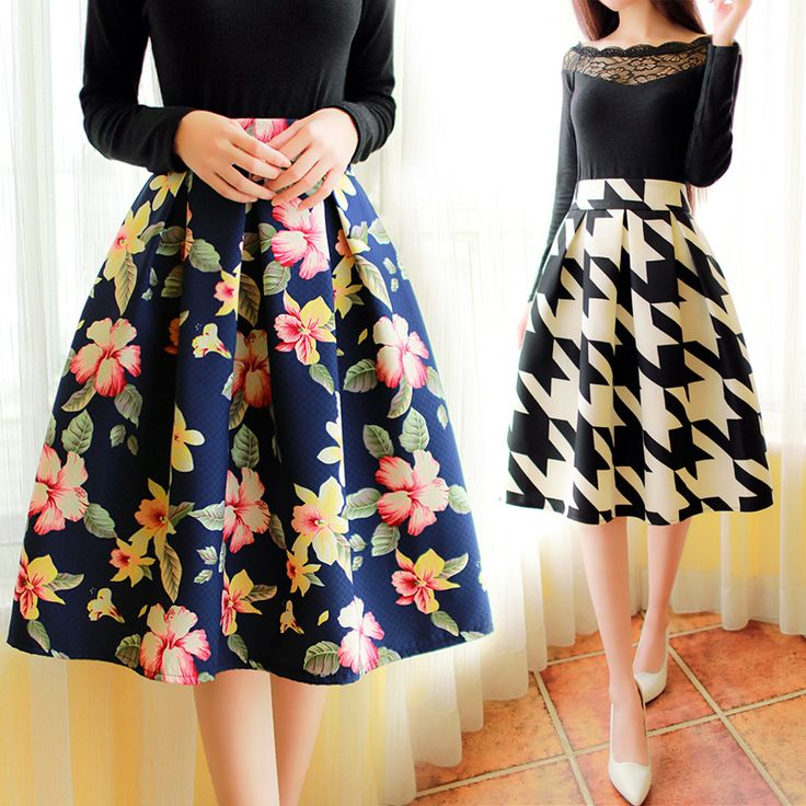 Korean version of the new winter fashion retro floral pleated skirt skirts in women's skirts Fan art floral pleated A line skirt-in Skirts from Women's Clothing & Accessories on Aliexpress.com   Alibaba Group