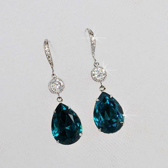 Handmade Teal Swarovski Blue Zircon Pear Crystal Dangle