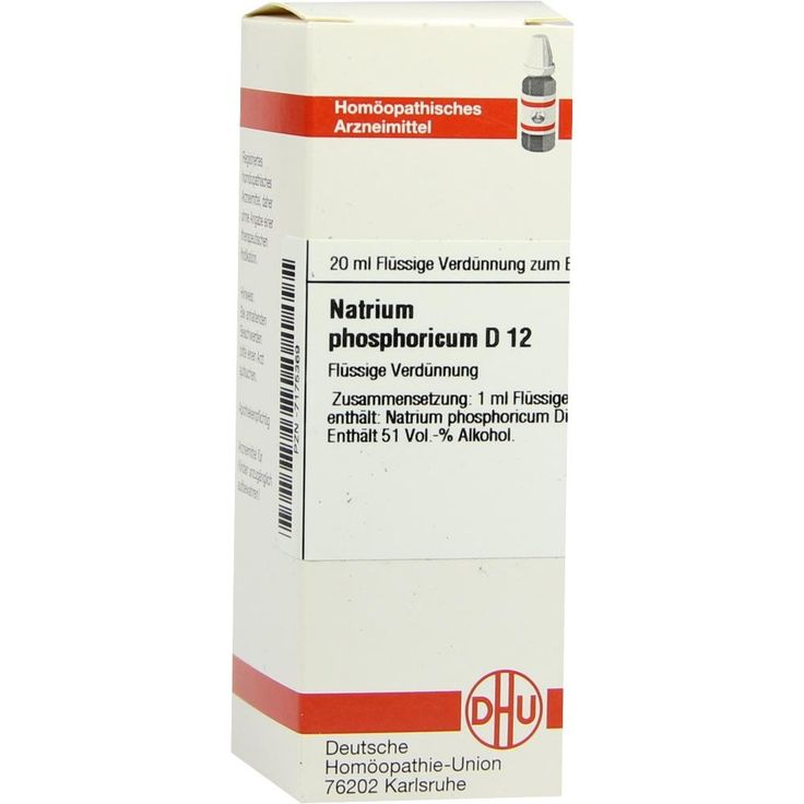 NATRIUM PHOSPHORICUM D 12 Dilution:   Packungsinhalt: 20 ml Dilution PZN: 07175369 Hersteller: DHU-Arzneimittel GmbH & Co. KG Preis: 5,95…