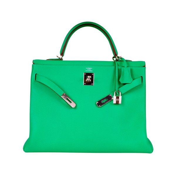 HERMES KELLY BAG 35CM MENTHE MINT OMG COLOR! ❤ liked on Polyvore featuring bags, handbags, hermes, bolsas, сумки, hermes purse, mint purse, mint green bag, hermes bag and man bag