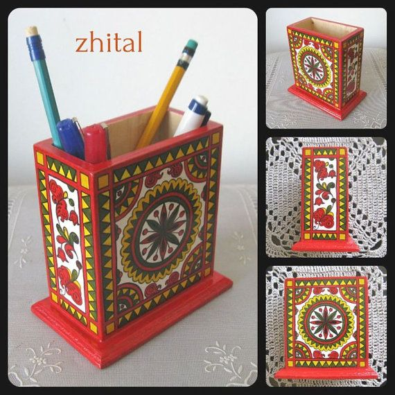 STAND FOR PENS / Pencil holder /folkart / Pencil от onestroke08, $35.00