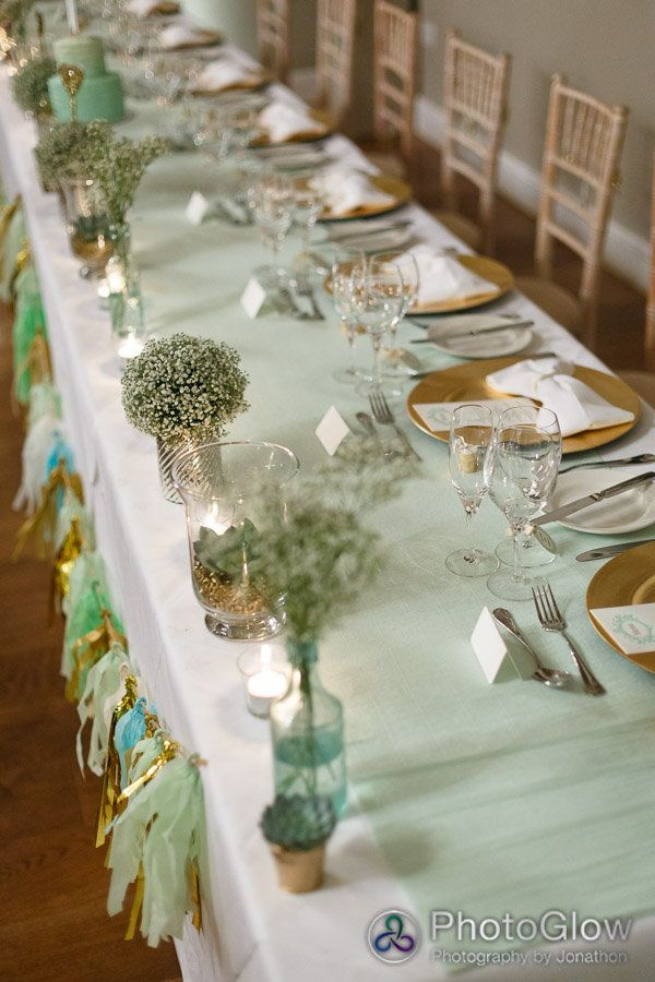 baby shower table runners yellow mint green and white | ... planner and stylist created this mint green and gold table scape for