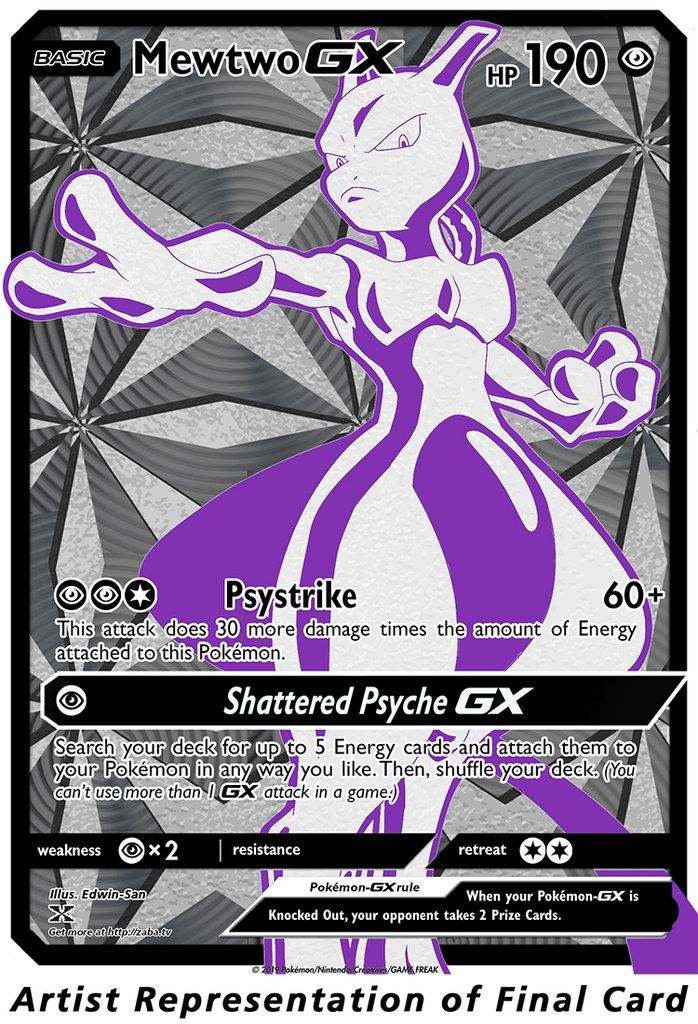 Mewtwo GX FULL Metal, Textured Luxury Custom Pokemon Card