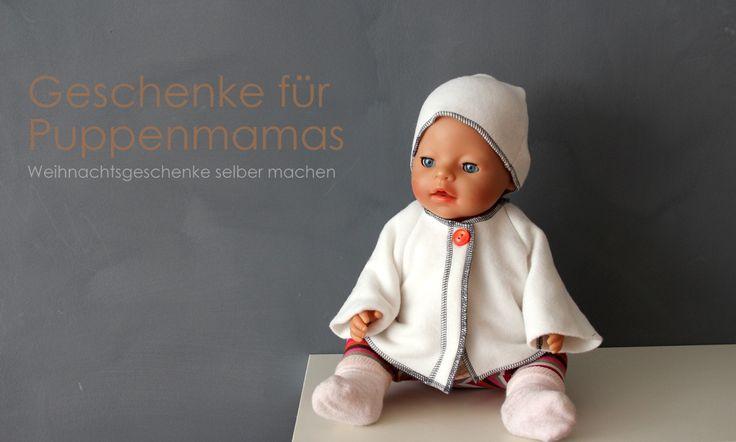 Geschenke selber machen, Puppensachen für kleine Puppenmamas, Puppenkleidung nähen + häkeln DIY Anleitung, Schnittmuster, Mantel/ Jacke für die Puppe machen, von knobz