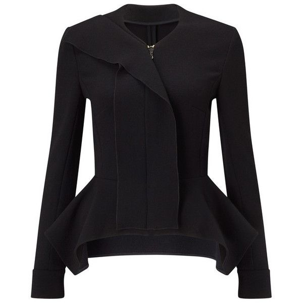 Lavenden Designer Peplum Smart Jacket | Black Wool | Shop The Roland... ($1,525) ❤ liked on Polyvore featuring outerwear, jackets, roland mouret, peplum jacket, wool jacket, woolen jacket and wool peplum jacket