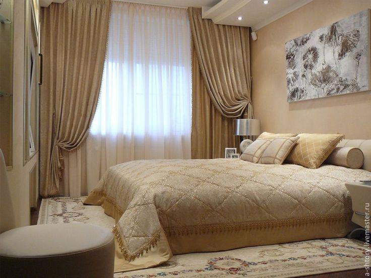 Купить Шторы в спальню - шторы для спальни, шторы, бежевый, портьеры, покрывало на кровать, подхват для штор