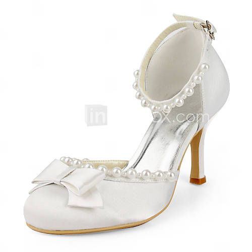 $62.29 - Satin Stiletto Heel Closed Toe / Pumps With Bow Wedding Shoes (More Colors Available)
