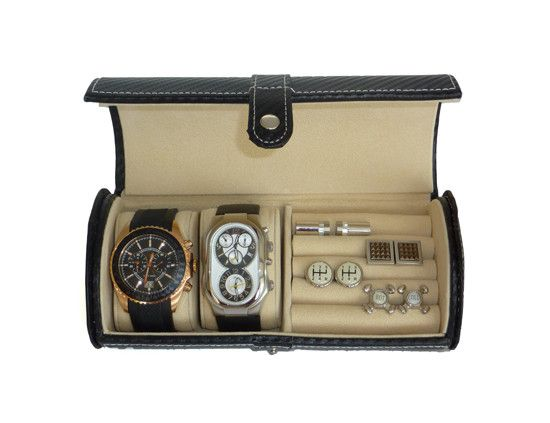 2 Watch Roll Black Carbon Fiber Travel Case for Watches and Cufflinks