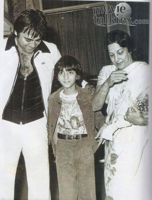 Sunil Dutt, Nargis and daughter Priya Dutt.