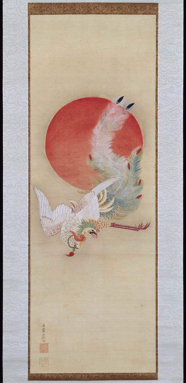 Phoenix and Sun (late 18th century) by Ito Jakuchu
