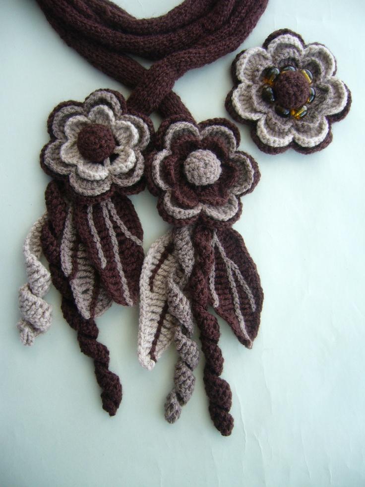 Crochet Knitted scarf lariat belt headband detachable brooch  http://www.etsy.com/shop/CraftsbySigita?ref=si_shop