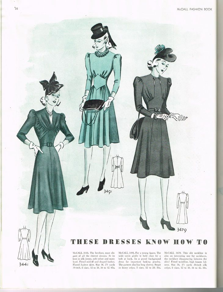 McCall Fashion Book, Winter 1939-1940 featuring McCall 3441, 3491 and 3479