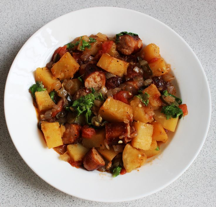 Sausage, Potatoes and Green Chilies