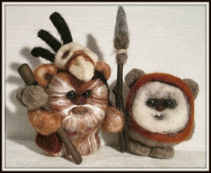 My needle felted  Star Wars Ewoks.