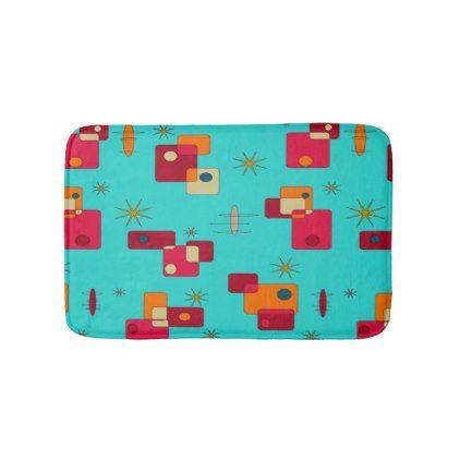 Mid Century Modern Inspired Teal Bath Mat - pattern sample design template diy cyo customize