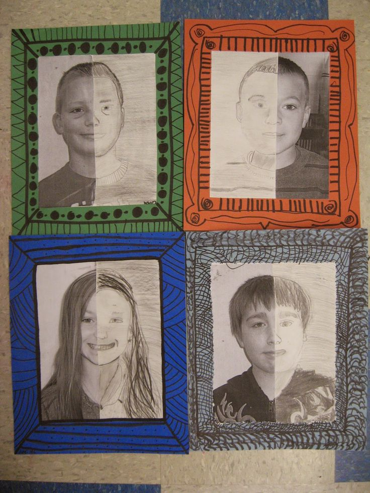 VISUAL ART: Jamestown Elementary Art Blog: 4th grade Mary Cassatt portraits. The students have one side as their photo and the other they complete the picture by drawing it in themselves.