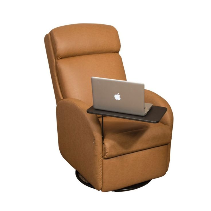 Awesome faux light brown leather recliner with laptop tray