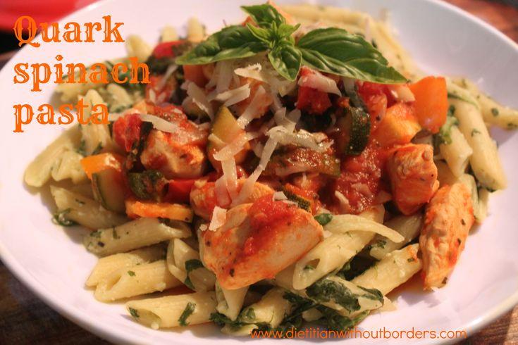 Spinach quark pasta with tomato sauce recipe