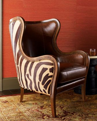 """""""Chocolate Zebra"""" Wing Chair by Massoud at Horchow."""