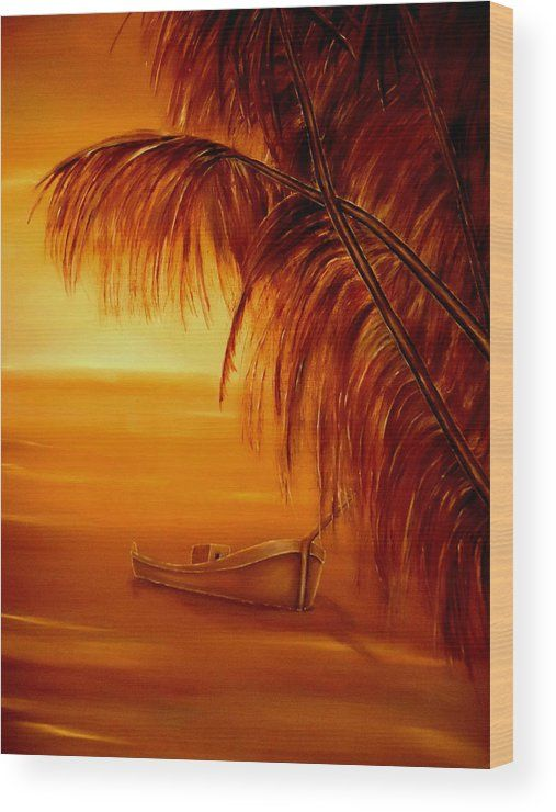 Wood Print,  sunset,coastal,scene,sunrise,tropical,boat,palmtrees,nature,seascape,ocean,nautical,marine,island,sea,water,wooden,gold,golden,orange,image,beautiful,fine,oil,painting,contemporary,scenic,modern,virtual,deviant,wall,art,awesome,cool,artistic,artwork,for,sale,home,office,decor,decoration,decorative,items,ideas