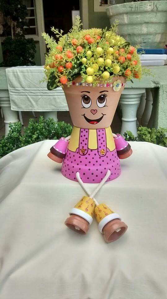 Vasinho cerâmica...really cute flower pot character!!