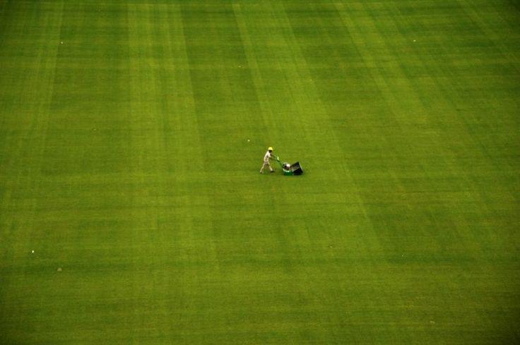 16 décembre. Tonte de la pelouse du stade des Corinthians, connu localement sous le nom d'Itaquerao, à Sao Paulo au Brésil, qui accueill...