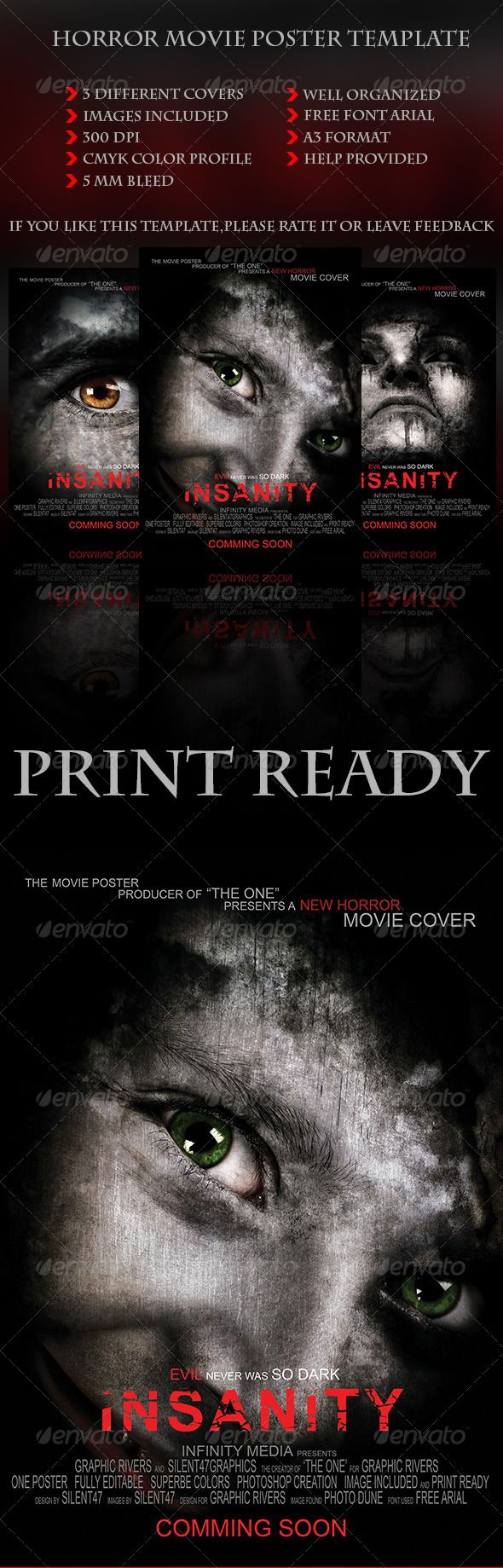 Horror Movie Poster Template — Photoshop PSD #death #cover • Available here → https://graphicriver.net/item/horror-movie-poster-template/5975361?ref=pxcr
